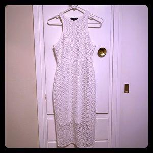 Express White Crochet Midi Dress